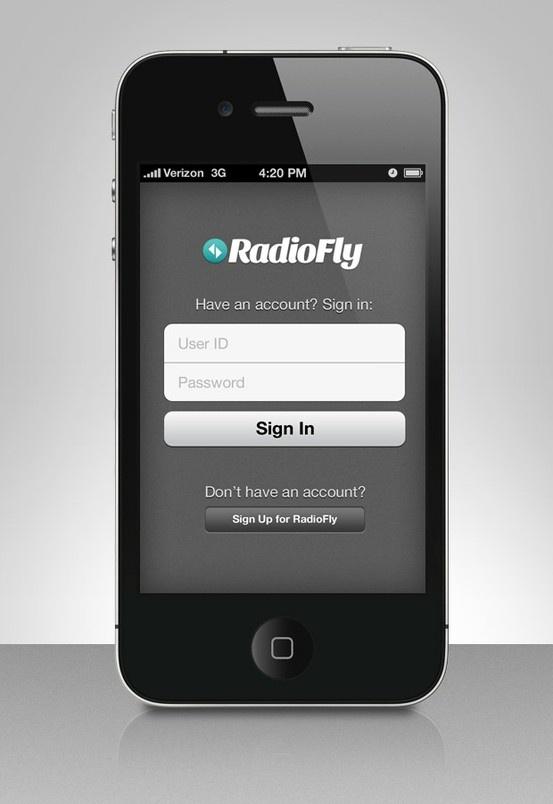 RadioFly iPhone Login Screen Home Control Pinterest