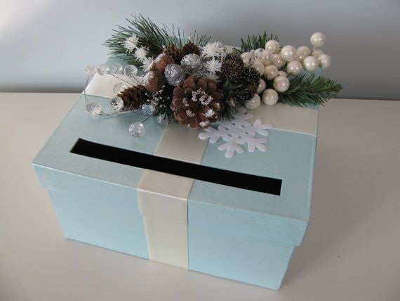 Card Box Winter Wonderland Wedding Icy Blue With Pinecones Snowflakes Boughs Crystal
