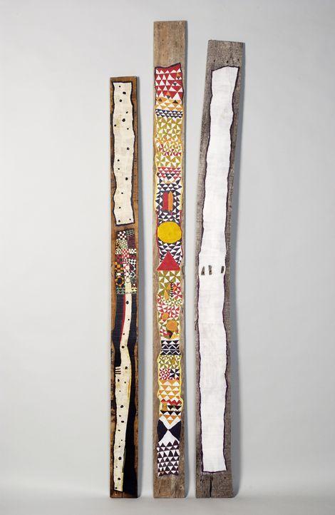 Armelle Frisa-Turonnet - 3 Totems, papier collé sur bois