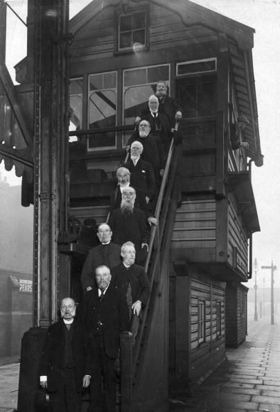 Retired employees of the Great Central Railway at Marylebone Station in London
