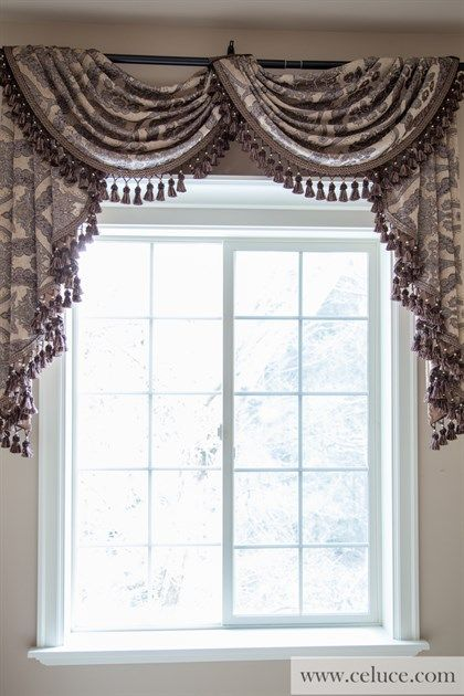 Queen Spades Pole Swag Valance Curtains This luxury valance features brown floral patterned damask woven in an embossed fashion, making the patterns vivid and standing out. The unique asymmetric style also adds a subtle yet elegant touch to the window treatment.  http://www.celuce.com/p/291/queen-spades-pole-swag-valance-curtains