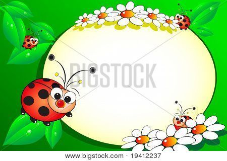 Kid scrapbook with ladybug and white daisies - Photo or message frames for children
