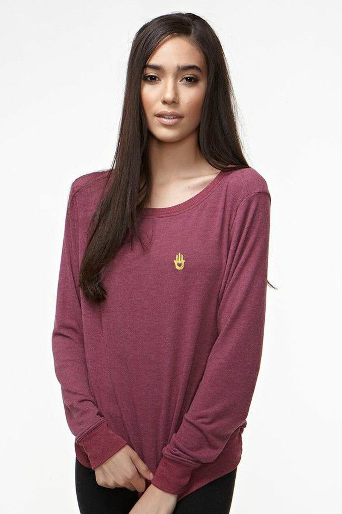 Hamsa Embroidered Savasana Pullover by SPIRITUAL GANGSTER.