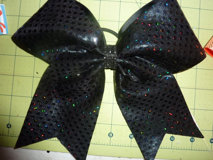 Black Holographic Dot Cheer Bow by TheCheerBowBabe on Etsy