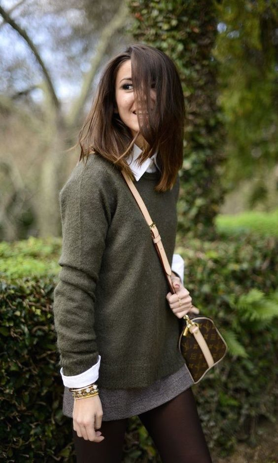 Fall trends | Khaki wool sweater over white shirt, grey mini skirt over tights and a Louis Vuitton purse
