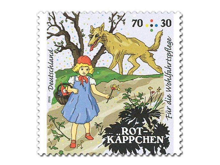 """Bild Briefmarke """"Rotkäppchen - Im Wald"""" aus der Serie Wohlfahrtspflege 70+30 ct"""