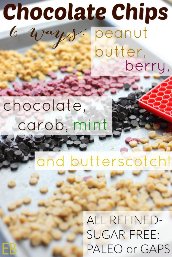 Homemade CHOCOLATE CHIPS 6 Ways: chocolate, carob, peanut butter, butterscotch, berry (or fruit), chocolate mint {refined-sugar-free, Paleo/GAPS} - Eat Beautiful #paleochocolatechips #honeychocolatechips #maplechocolatechips #gapschocolatechips #sugarfreechocolatechips #carobchocolatechips #peanutbutterchocolatechips