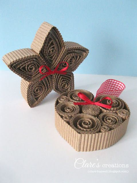 handmade ornaments ... corrugated kraft .. quilling style fill of concentric rolled shapes .. Cardmaking y Papercraft - Edición 124 Navidad