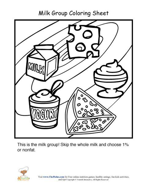 Color page for dairy food group. | nutrition | Pinterest ...