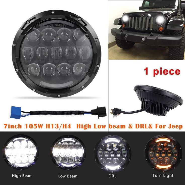 "7"" 105W LED Cree Headlight Hi/Lo Beam for 97-16 Jeep Wrangler JK TJ LJ 1pc 