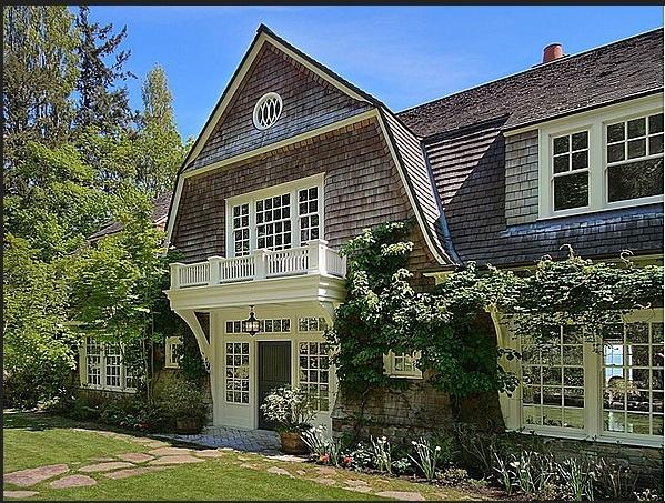 shingle style gambrel roof balcony corbels design