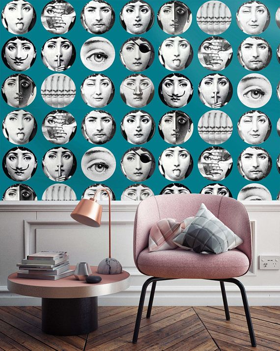 Faces Custom Wallpaper Fornasetti Wallpapers Wallpaper Dishes