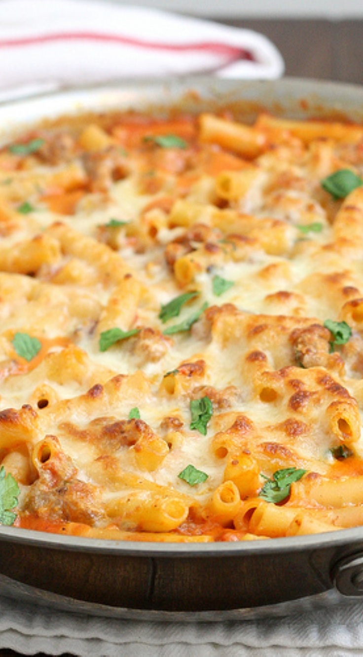 Skillet Baked Ziti with Sausage...can use fat free half and half for heavy whipping cream