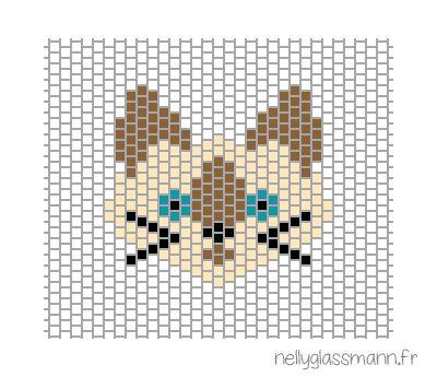 Tissage brick stitch : diagramme chat siamois More Plus