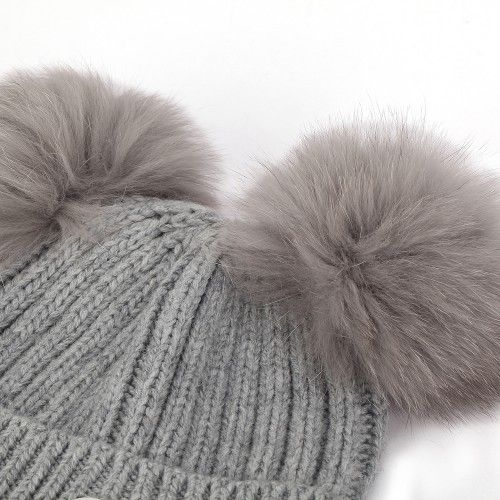 MOSS REFLEKS STRIKKELUE, Rabbit Grey one size