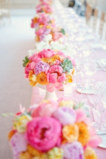 Style Me Pretty bright and vibrant floral table decorations