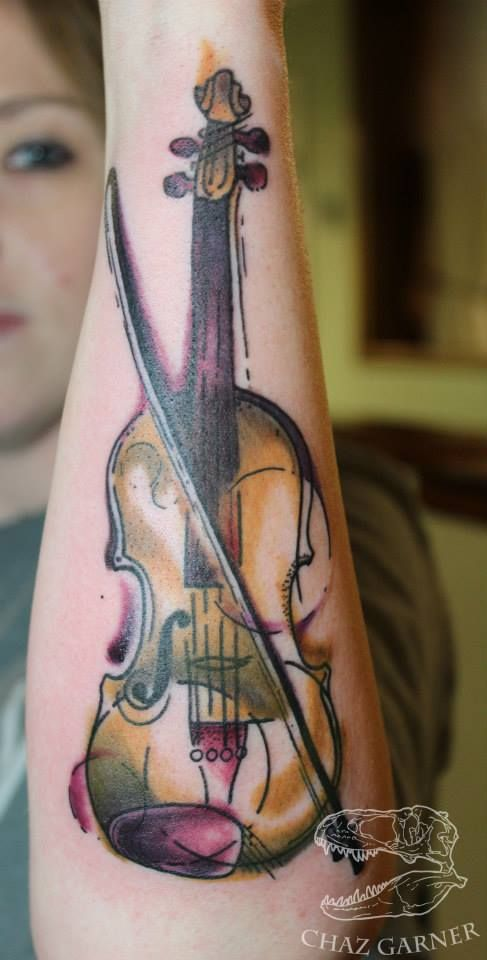Water color violin tattoo . Artist - Chaz Garner watercolor watercolour colour viola