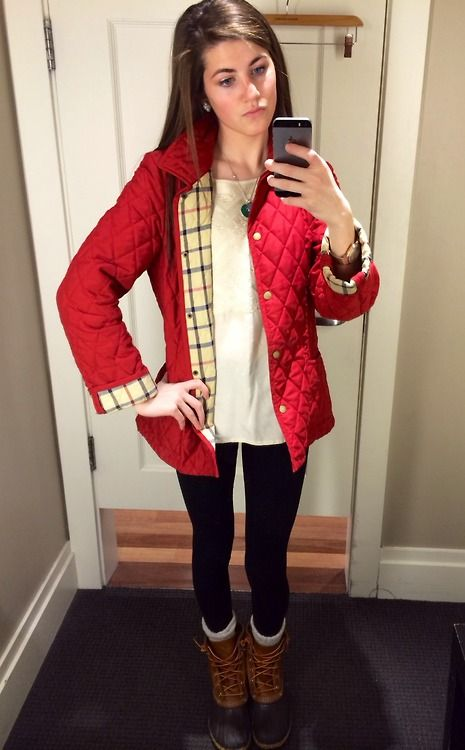 get a MK jacket and black j crew leggings for a wintry look
