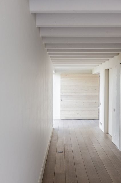 Subtle colors inside House in Lovendegem by Pascal Bilquin Architect. Photo by Thomas De Bruyne.
