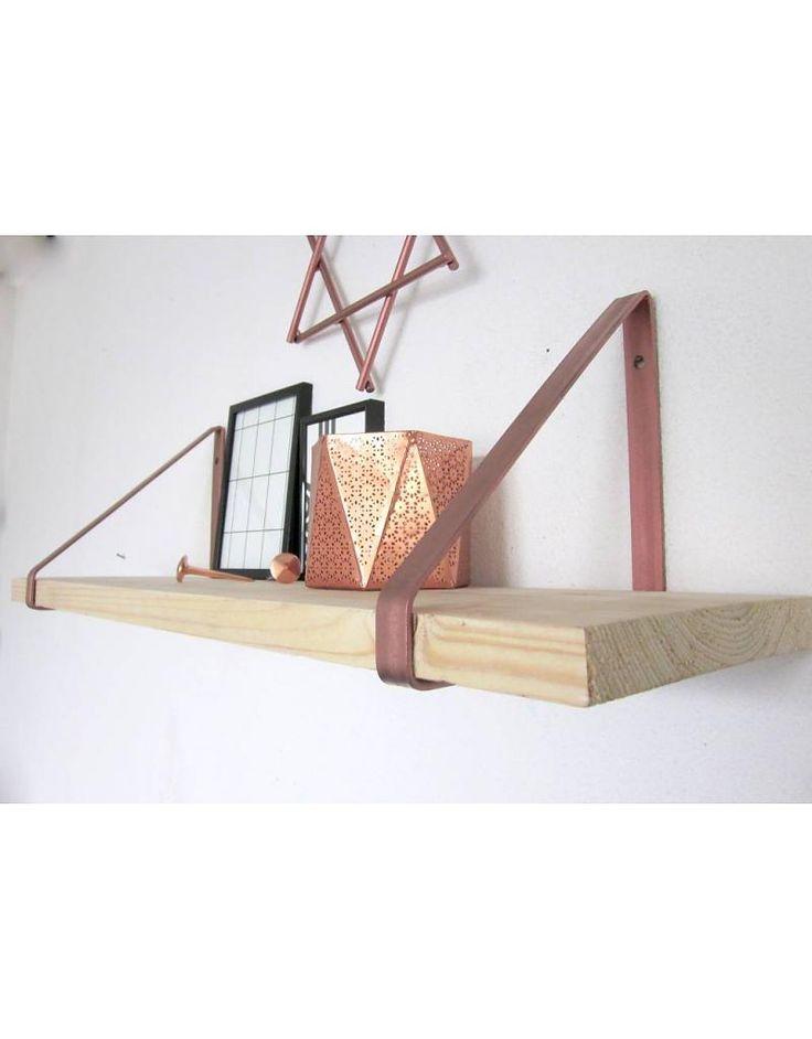 Stoer Metaal koperen plankdragers, breed