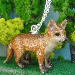 Meow Girl Ceramic Red Fox Necklace