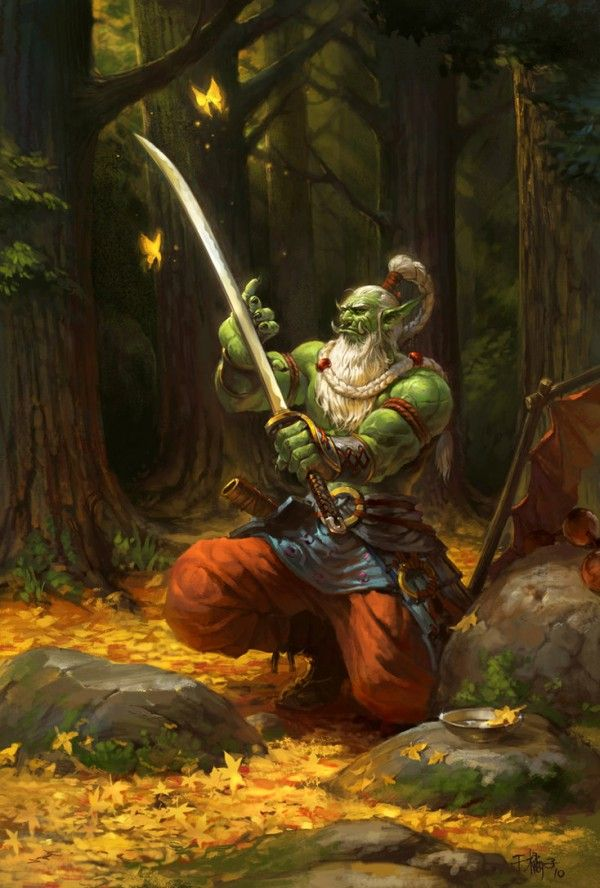 Orc warrior, crouching with greatsword. Game Art by Li Kai | Cuded