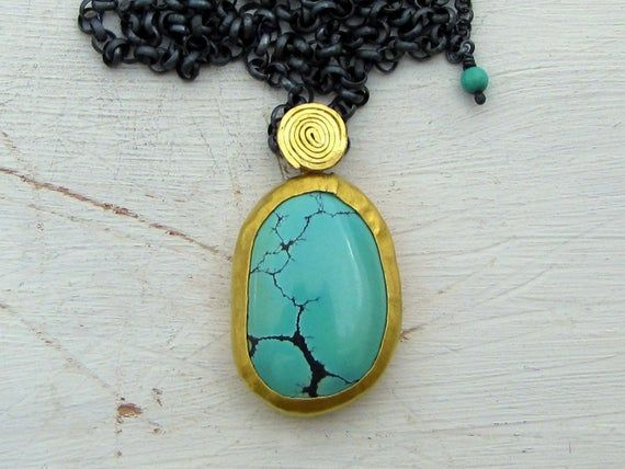 24k Gold Turquoise Pendant Solid Gold Silver Necklace Etsy In 2021 Turquoise Pendant Gold Pendant 14k Gold Pendants