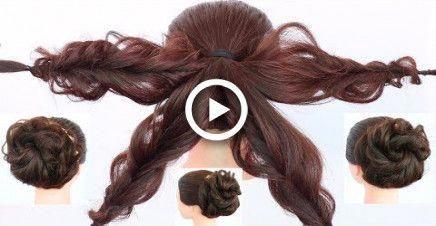 chaotisch Schüssel Frisur mit Trick || juda frisur für kleid, lehnga, hochzeit || up …