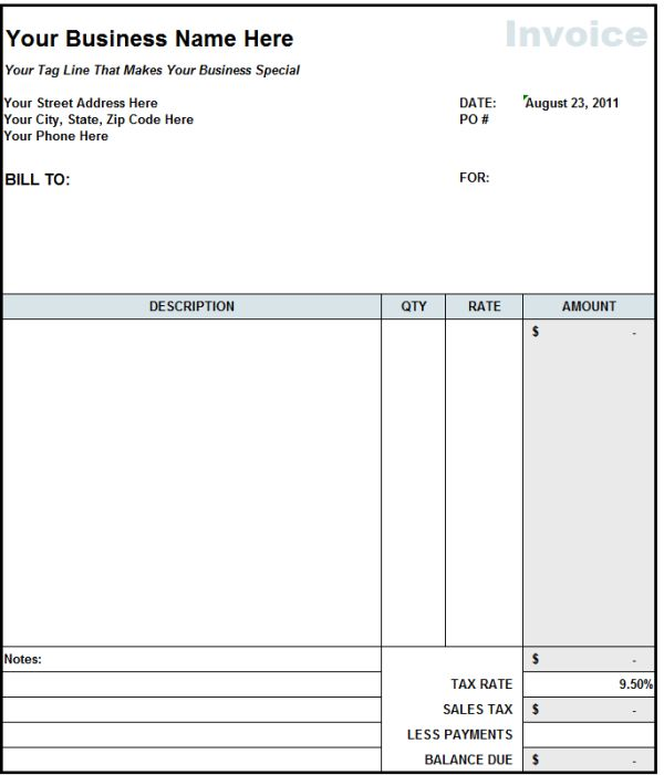Blank Invoice Statement Form | Free Invoice Template From Fast Easy  Accounting