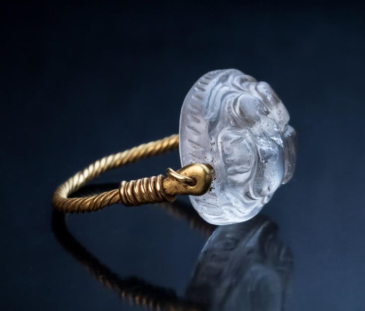 Ancient Greek Rock Crystal Gold Swivel Signet Ring - Antique Jewelry | Vintage Rings | Faberge Eggs