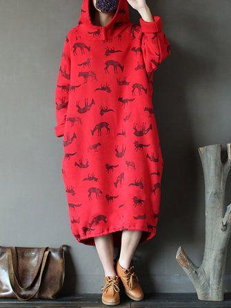 Women\'s Animal Print Long Hoodies Casual Dress