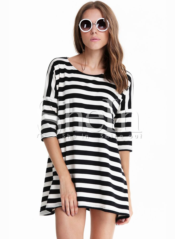 Black and White Striped Batwing Long Sleeve T-shirt,    #T-Shirts,    #tee140714507