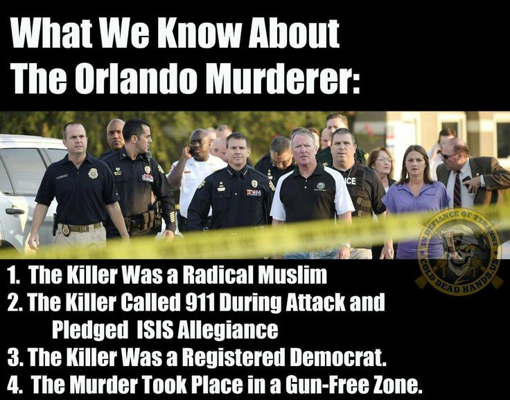 Just saying - Alton Nolen in Moore, Dzhokhar Tsarnaev and Tamerlan Tsarnaev in the Boston Marathon bombing, Nidal Malik Hasan at Ft. Hood, Muhammad Youssef Abdulazeez at Chattanooga; Syed Rizwan Farook and Tashfeen Malik at San Bernardino; now Omar Mateen at Orlando ALL Islamic terrorism)...