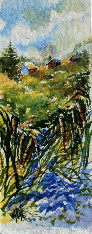"Inside the Fence. A Series of Miniatures Number 12 A Glimpse into my World 1.75"" X 4.5"",  Watercolour, Matted"
