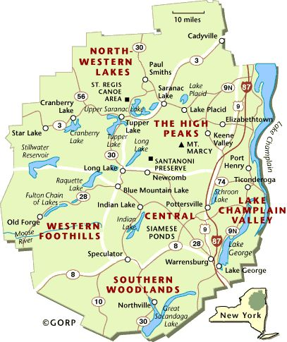 Adirondack Park map.   Irondequoit Inn is a hidden delight.  We're not on the map (Piseco is SW of Speculator in the Southern Central section of the park) and we have WIDE OPEN  green space for  our neighbors!    www.irondequoitinn.com