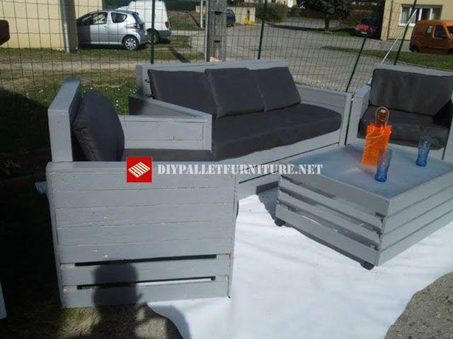 Mueblesdepalets.net: Bonito set de muebles de terraza