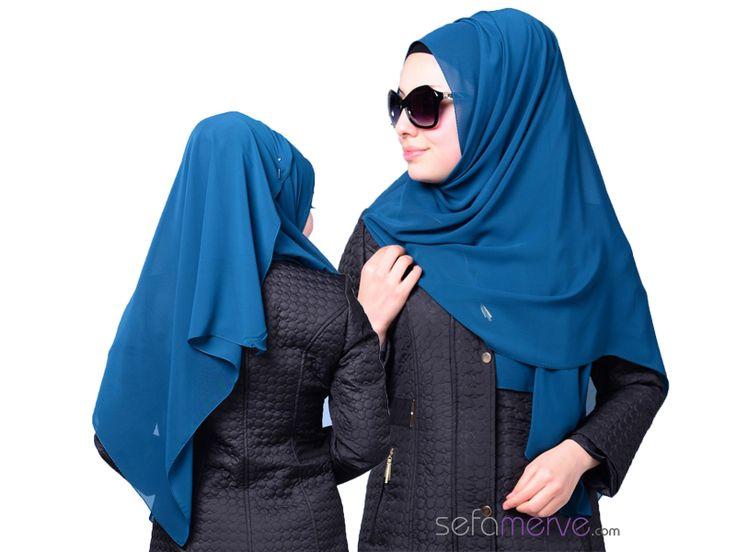 Sefamerve Uzun Şifon Şal 34 Zümrüt Yeşil  #sefamerve #tesetturgiyim #tesettur #hijab #tesettür