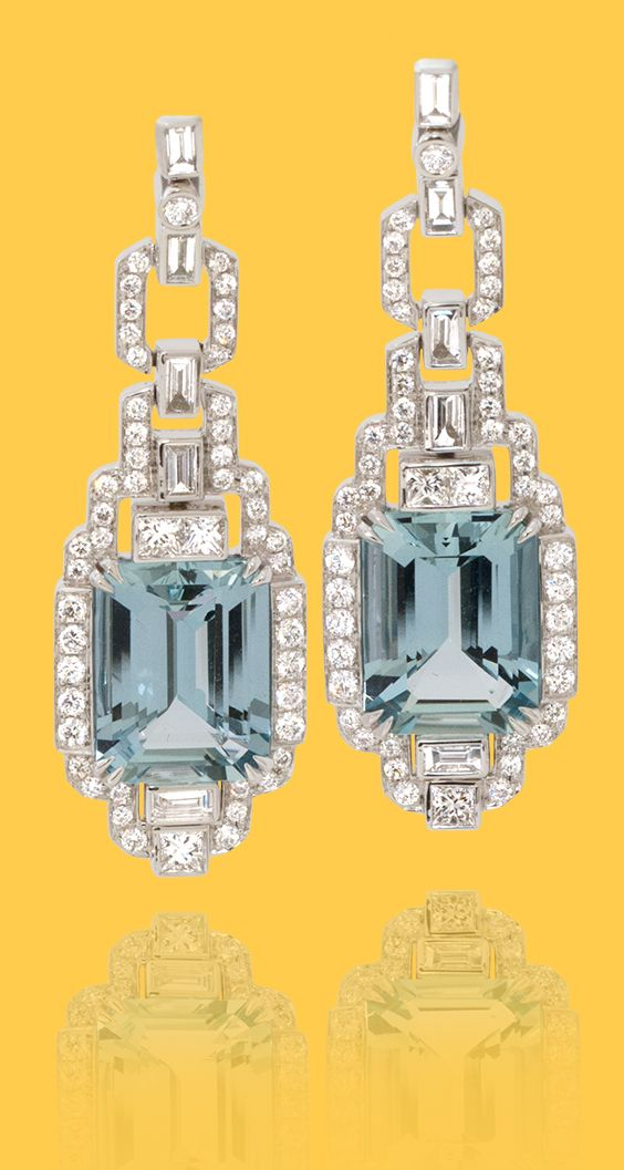 cd4595578 de Boulle Collection Art DecoDence Dangle Aquamarine Earrings in ...