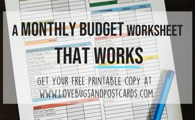 A Monthly Budget Worksheet That Works Printable Monthly Budget Lovebugs And Postcards Monthly Budget Worksheet Budgeting Worksheets Monthly Budget Printable