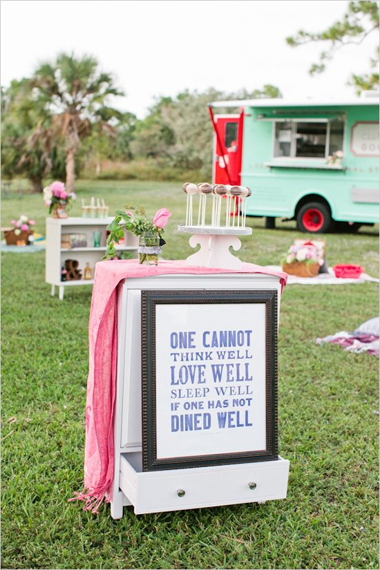 Food-truck themed picnic style wedding... I actually think this is super cute :) Perfect for an intimate crowd and very original (at least until it hit Pinterest) http://food-trucks-for-sale.com/