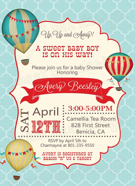 Baby Shower Invitation Hot Air Balloon by SweetBeeDesignShoppe