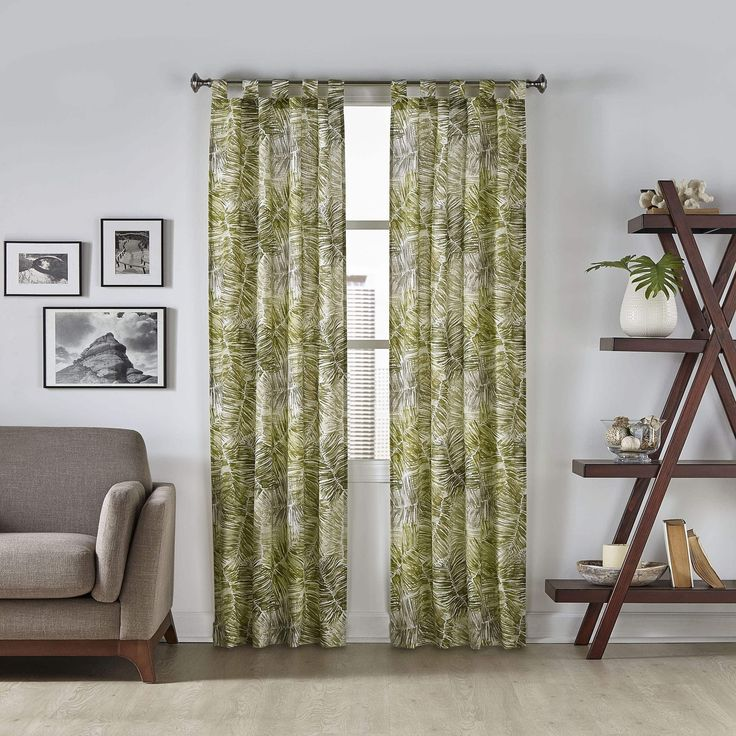 Pairs to Go Marley Tropical Window Curtain Panel Pair (60x63 - Green) (Cotton Blend, Nature)