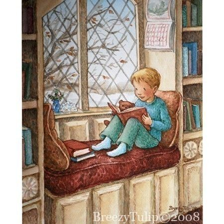 Winter's day (2008) © Breezy Brookshire (Artist, Indiana, USA) aka BreezyTulip via etsy ... Print $15 ...  Library, Window Seat, Boy, Reading, Book. Too cute :-)