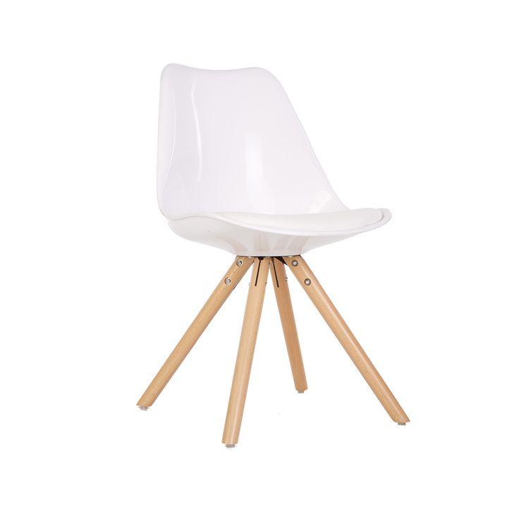 Židle s polstrovaným podsedákem z koženky - bílá lesklá | Maxidesign.cz