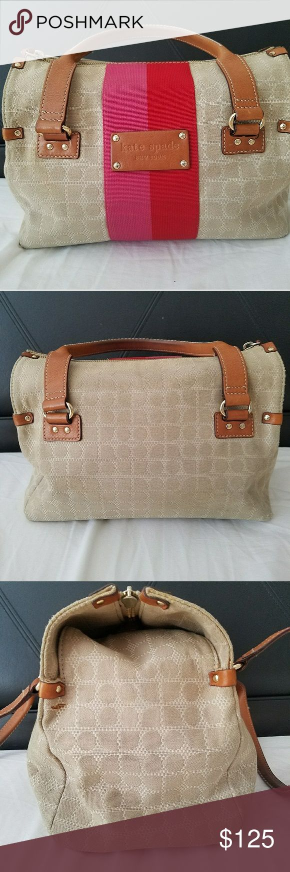 """FLASH SALE Kate Spade 👜 Gently used Kate Spade vintage signature handbag. Woven canvas w/ leather trim. Perfect for Spring/Summer. Aprox 11"""" long, 7"""" high & 6"""" wide. Please don't hesitate to ask questions or use offer button to negotiate. kate spade Bags"""