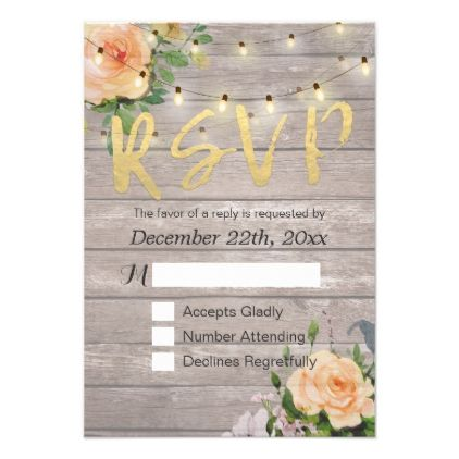 #rustic - #Rustic Wood Floral String Light Wedding RSVP Reply Card
