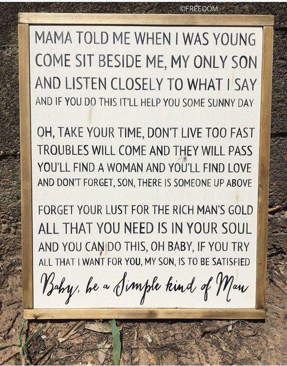 Simple Man Lyrics sign|Farmhouse|Handpainted| Framed Sign |Handmade by FreedomDesignsCo on Etsy https://www.etsy.com/listing/257903284/simple-man-lyrics