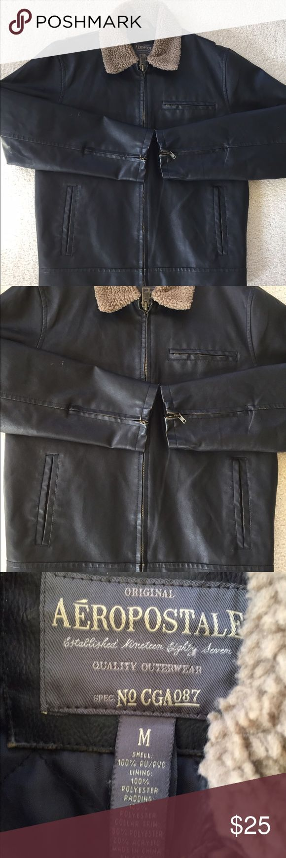 Aeropostale Black Faux Leather Jacket - Men's (M) Worn lightly. In nice condition! There is 1 patch of white/brown marking on the right sleeve of the jacket (shown in the last picture). I don't know whether this is part of the design or not but nonetheless it is hardly noticeable. Aeropostale Jackets & Coats Performance Jackets