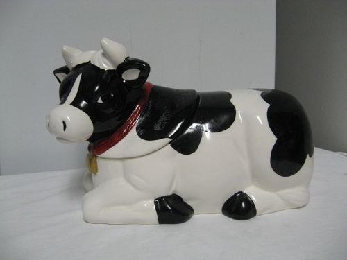 Older Amc N Y Marked Ceramic Cow Figural Cookie Jar Black