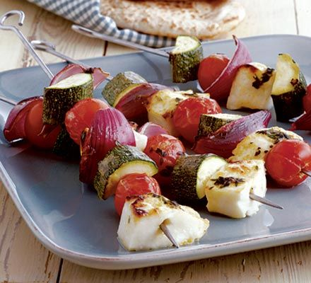 Summer braai - Halloumi kebabs with thyme & lemon baste (make with fish) http://www.bbcgoodfood.com/recipes/1844/halloumi-kebabs-with-thyme-and-lemon-baste